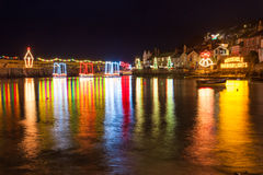 Mousehole Christmas Lights Cornwall. Beautiful display of Christmas Lights at Mousehole Harbour Cornwall England UK Europe Stock Photography