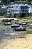 Mousehole Harbour. Boats left high and dry in mousehole harbour, Cornwall Royalty Free Stock Photo