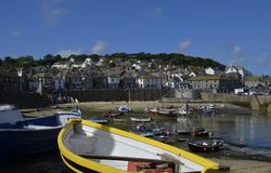 Mousehole Harbour, Cornwall. Tranquil Summer`s Day at Mousehole Harbour, Cornwall, Great Britain Stock Photo