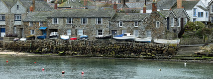 Mousehole Pano. Mousehole Harbour a Cornish Fishing Village Royalty Free Stock Images