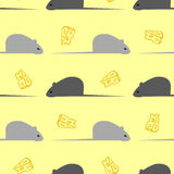 MousePattern. Pattern made from mouses and hand drawn cheese on the yellow background. Vector illustration Royalty Free Stock Images