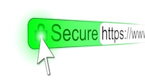 Mousepointer clicking padlock on a secure https website Royalty Free Stock Photography