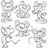 Mouses. Black outline sketch on white background Royalty Free Stock Photo