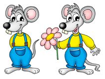 Mouses. Illustration of two mouses. One is holding flower Stock Photos