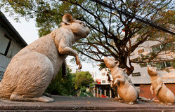 Mouses and big mother rat in form of a sculpture on the street Stock Photo