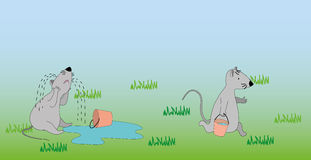 Mouses with buckets and water. Funny picture in vector for your design Stock Photo
