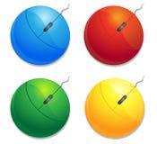 Mouses d'ordinateur de couleur Photographie stock libre de droits