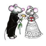 Mouses dolci sposa e sposo Fotografia Stock
