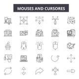 Mouses en cursores voert pictogrammen, tekens, vectorreeks, lineair concept, overzichtsillustratie stock illustratie