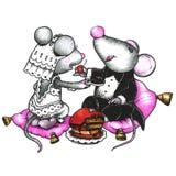 Mouses mignons dans l'amour Images libres de droits