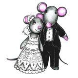 Mouses mignons dans l'amour Photographie stock