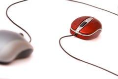 Mouses rojos y grises Imágenes de archivo libres de regalías