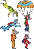 Mouses skydivers Royalty Free Stock Photos