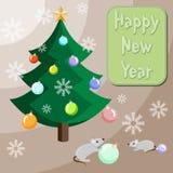Mouses sta decorando l'albero di Natale Immagine Stock
