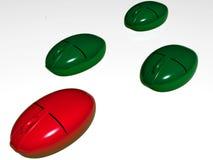 Mouses verdes y rojos ilustración del vector