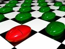 Mouses verdes y rojos en fondo checkered stock de ilustración