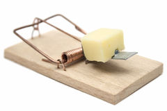 Mousetrap. Wooden mousetrap with cheese isolated on white Royalty Free Stock Image