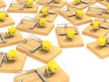 Mousetrap. And cheese white background Stock Photography