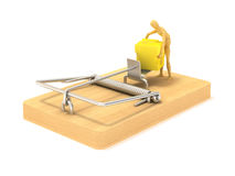 Mousetrap. And cheese white background Royalty Free Stock Images
