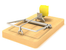 Mousetrap. And cheese white background Stock Image