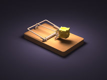 Mousetrap. And cheese white background Royalty Free Stock Photos