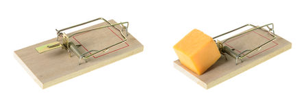 Mousetrap. Set with cheddar cheese on a floor, next to a mouse hole Stock Photography