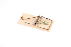 Mousetrap. Wooden mousetrap on white background Stock Photos