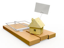 Mousetrap. Mousetrap and cheese house on it.3d render Stock Photo
