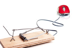 Mousetrap amd computer mouse Royalty Free Stock Photography