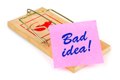 Mousetrap And Paper Bad Idea Stock Photography