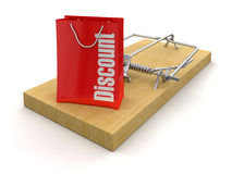 Mousetrap and bag Discount (clipping path included) Royalty Free Stock Images