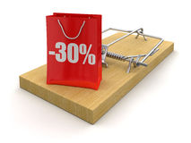 Mousetrap and bag with Percentage Sign (clipping path included) Royalty Free Stock Photos