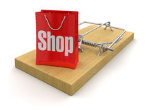 Mousetrap and bag Shop (clipping path included) Stock Photos