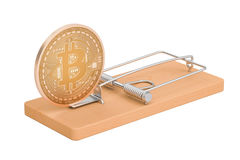 Mousetrap with bitcoin, 3D rendering Royalty Free Stock Images