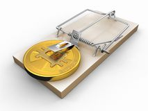 Mousetrap and Bitcoin Royalty Free Stock Photo