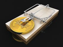 Mousetrap and Bitcoin. Image with clipping path Royalty Free Stock Photo