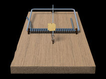 Mousetrap on black front view Royalty Free Stock Photos