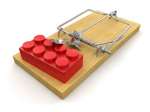 Mousetrap and Block (clipping path included) Stock Image