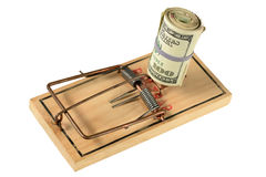 Mousetrap with Bundle of Money Royalty Free Stock Photo