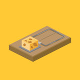 Mousetrap and cheese isometric vector illustration Royalty Free Stock Image