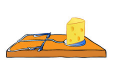 Mousetrap with cheese - trap Royalty Free Stock Images