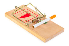 Mousetrap and cigarette Royalty Free Stock Photo