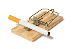 Mousetrap with cigarette Stock Images