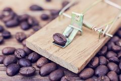Mousetrap coffee caffeine coffee addiction dependency heart dang. Er.Concept stock image