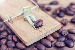 Mousetrap coffee caffeine coffee addiction dependency heart dang. Er. Concept stock photography