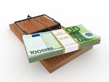 Mousetrap com euro no fundo isolado branco Fotos de Stock Royalty Free