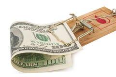 Mousetrap con cento dollari di fattura Fotografie Stock