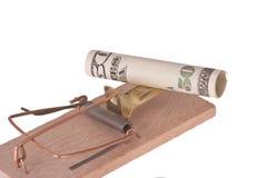 Mousetrap con soldi americani Fotografie Stock Libere da Diritti