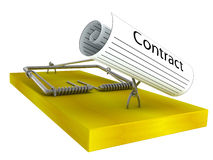 Mousetrap with the contract Royalty Free Stock Photography