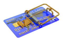 Mousetrap with Credit Card. Isolated on white background Royalty Free Stock Photos